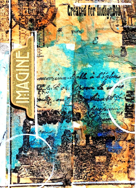 Art journal page by Solange Marques featuring IndigoBlu stamps.-02