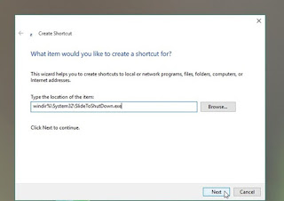 Cara Membuat Shortcut Slide to Shutdown Windows 10