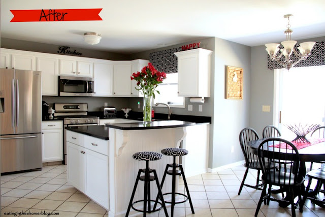 After Photo of Black and White Kitchen Remodel