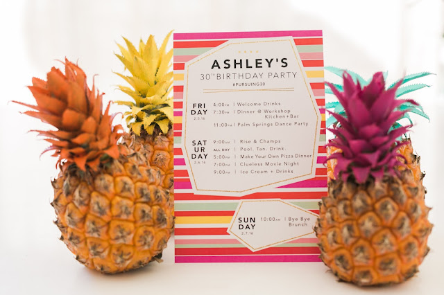 painted pineapples, mini pineapples, pool party ideas