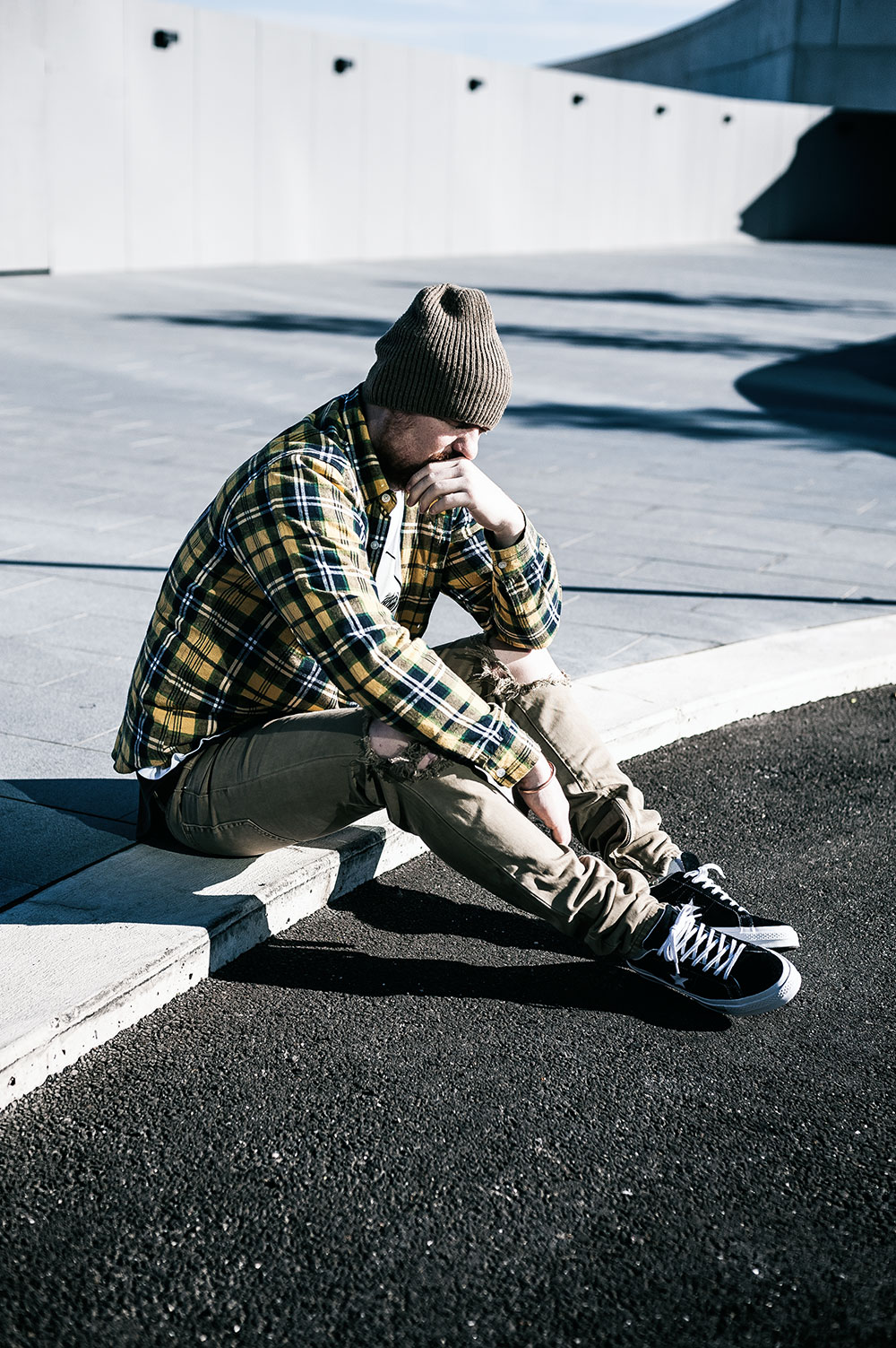 Converse One Star Premium Suede 90s Reissue Black Sneakers / MNML M1 Taupe Denim / Fallen Footwear Flannel Shirt / Nixon Regain Sage Beanie by Tom Cunningham
