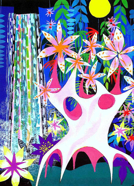 A Mary Blair waterfall color design