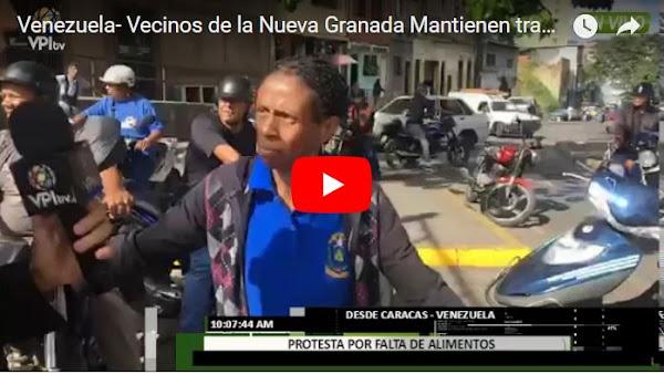 Pueblo protesta por comida en la Avenida Nueva Granada
