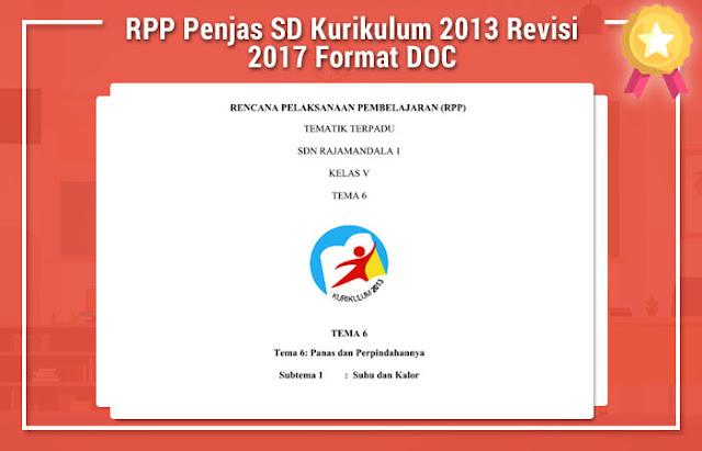 RPP Penjas SD Kurikulum 2013 Revisi 2017 Format DOC