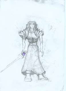 Armored Female Warrior drawing