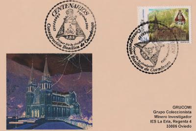 Tarjeta del matasellos PDC del sello del Centenario dela Consagración de la Basílica de Covadonga