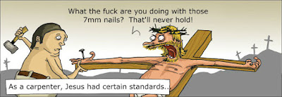 Funny Jesus Carpenter Standards Religious Cartoon Picture