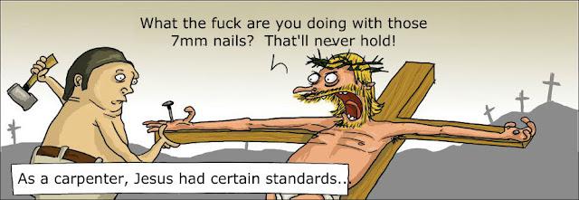 Funny Jesus Carpenter Standards Religious Cartoon Picture