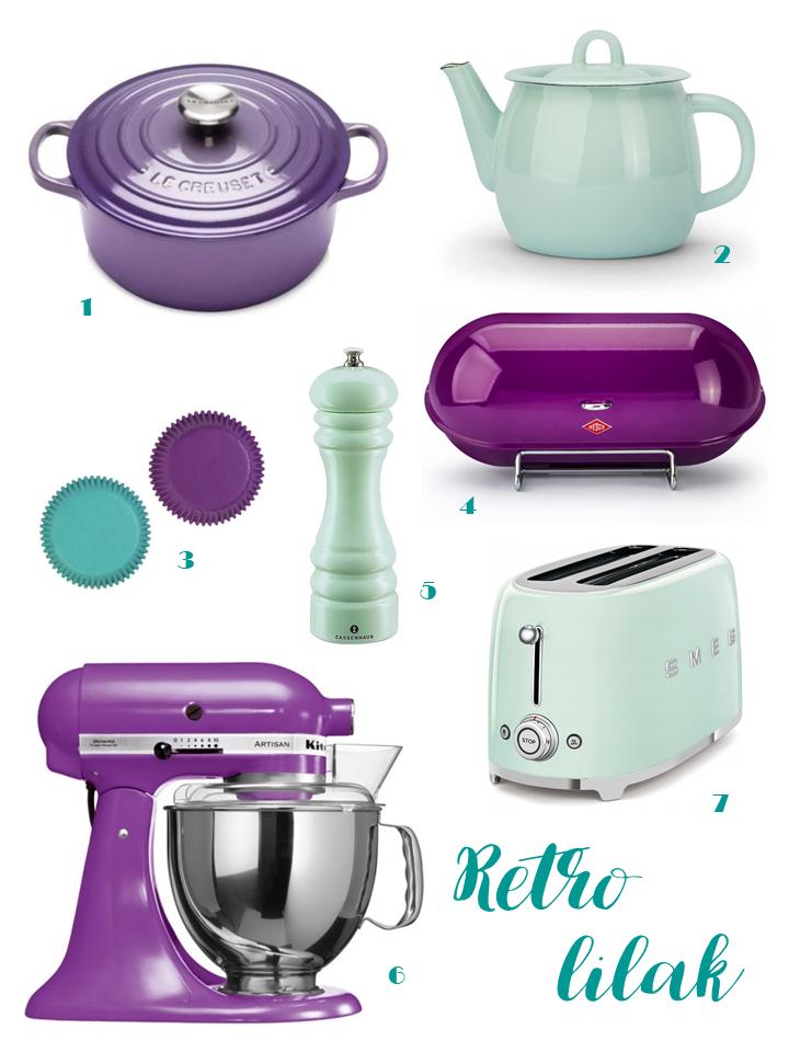 Le Creuset Kitchen Aid fioletowy retro agd violet mint