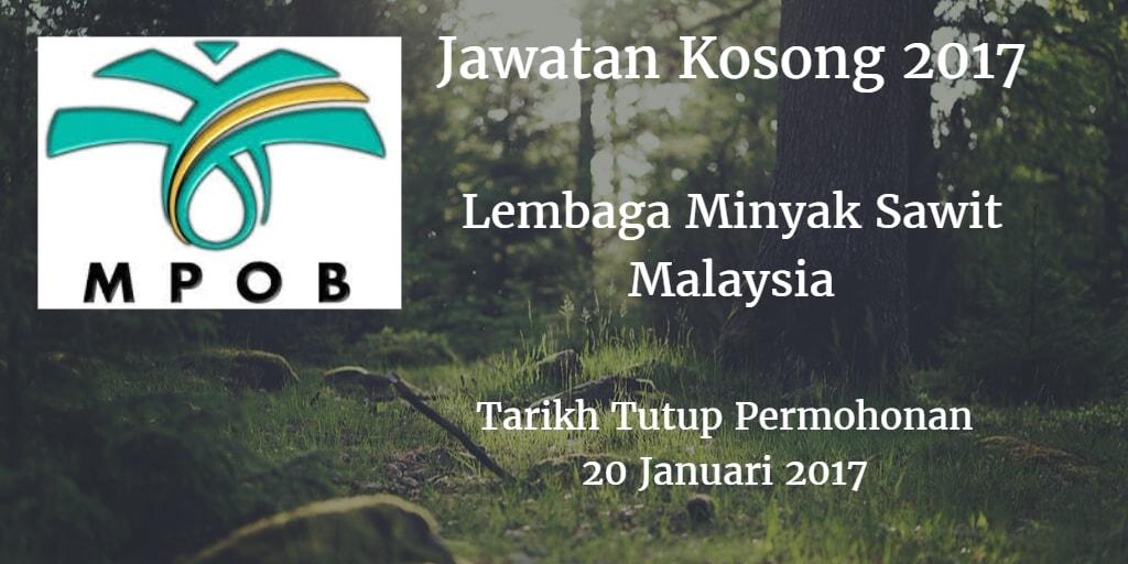 Jawatan Kosong MPOB 20 Januari 2017