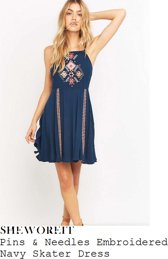 caroline-flack-pins-and-needles-navy-blue-orange-and-white-embroidered-aztec-diamond-stripe-detail-sleeveless-skater-dress