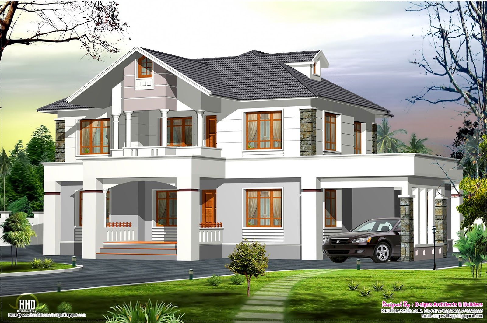2400 western style home in kerala house design plans for Western style houses