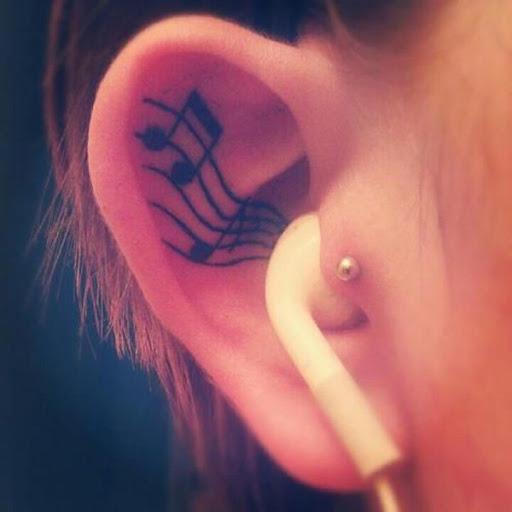 Ouvido a música tatuagem desenhos para as mulheres