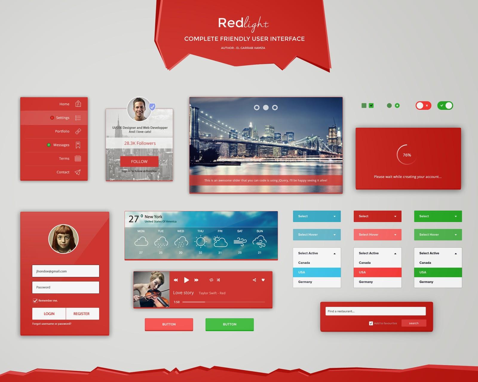 Redlight Friendly UI Kit PSD