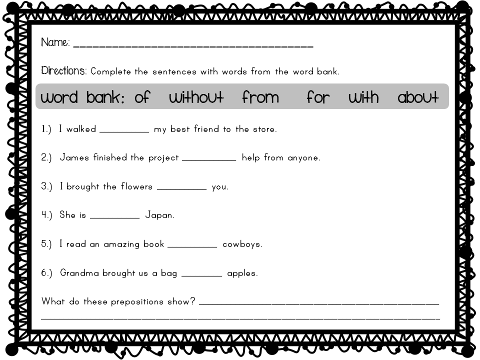 Printable Worksheets worksheets on prepositions for grade 1 : The City School: Grade 4 English Reinforcement Worksheets