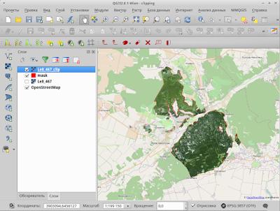 Обрезанное изображение Landsat с прозрачными зонами обрезки на фоне OpenStreetMap