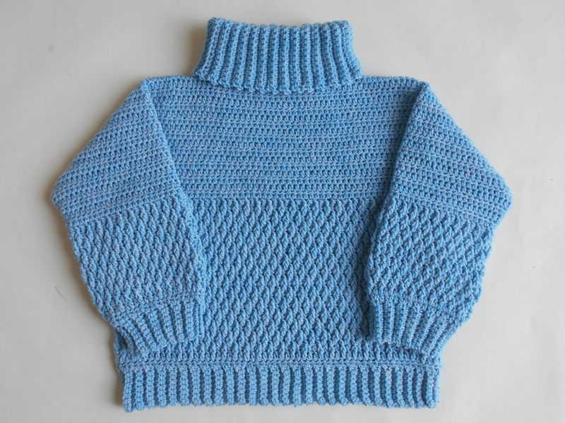 1179c20856886e Instructions  We made this crochet kid s sweater high neck pullover for 3-4  years boys and girls. We adding only one color in this sweater