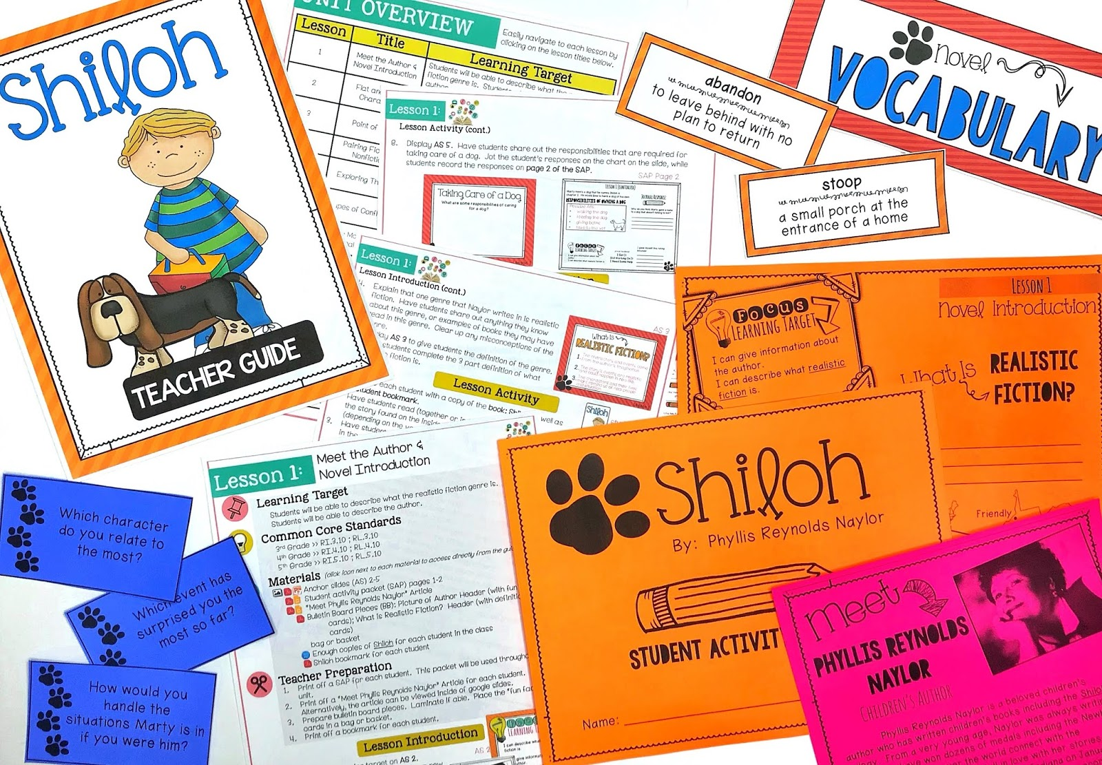 Shiloh is a great chapter book for any upper elementary classroom.  This full unit helps teach reading skills and strategies using the book, Shiloh