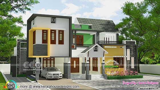 Mixed roof modern 4 bedroom home plan