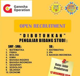 Lowongan Kerja di Ganesha Operation Makassar
