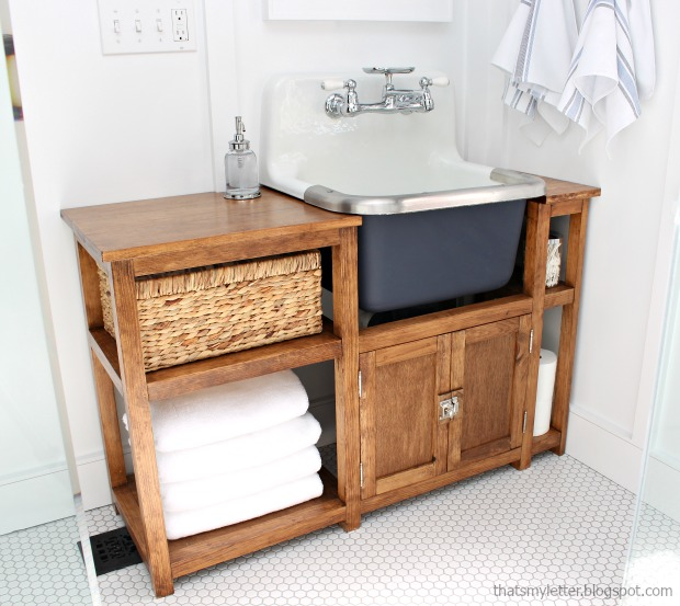 That's My Letter: DIY Vanity for Wall Mount Sink