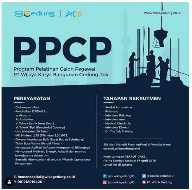 Lowongan Kerja PPCP PT Wijaya Karya Bangunan Gedung Tbk April 2019