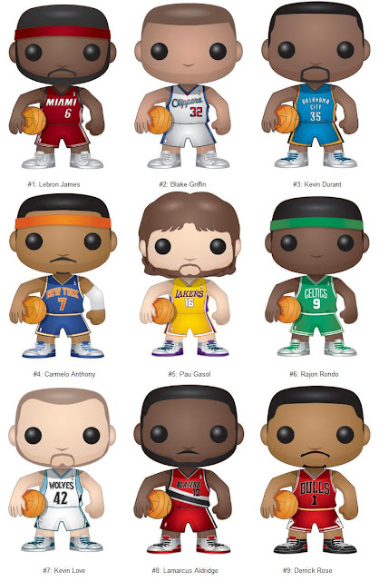 NBA Pop! Vinyl Figures by Funko - Lebron James, Blake Griffin, Kevin Durant, Carmelo Anthony, Pau Gasol, Rajon Rondo, Kevin Love, Lamarcus Aldridge & Derrick Rose