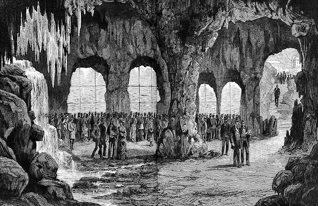 the underground aquarium at the 1878 L'Exposition de Paris, an illustration