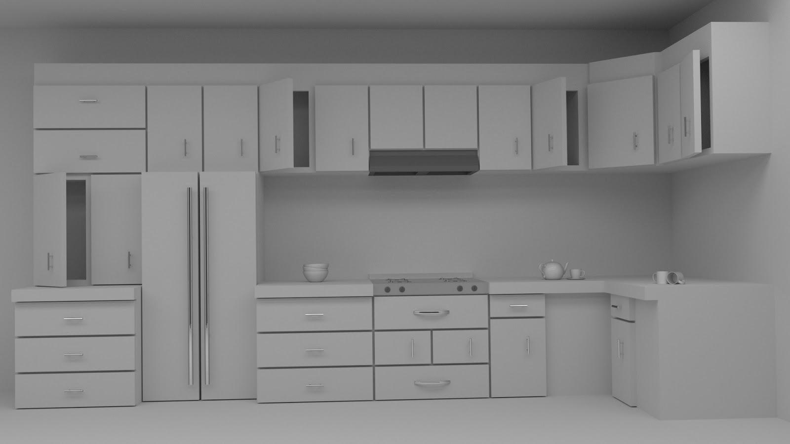 Free 3D Kitchen Cabinet .blend file