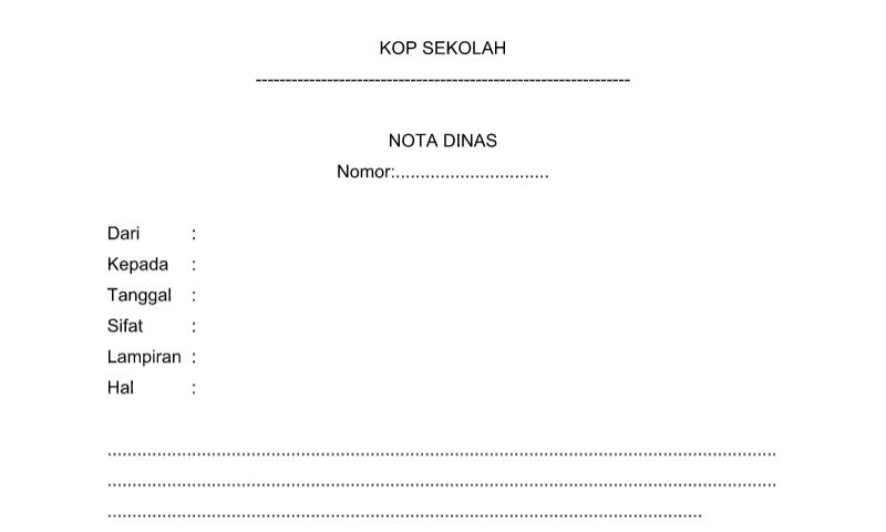 Bentuk Nota Dinas pada Administrasi TU (Tata Usaha) Sekolah Format Word (doc)