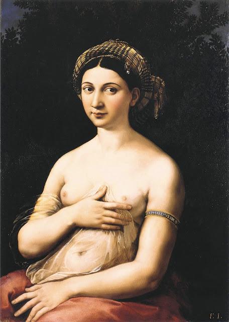 Raffaello Sanzio - La Fornarina - arte - nudo femminile - topless