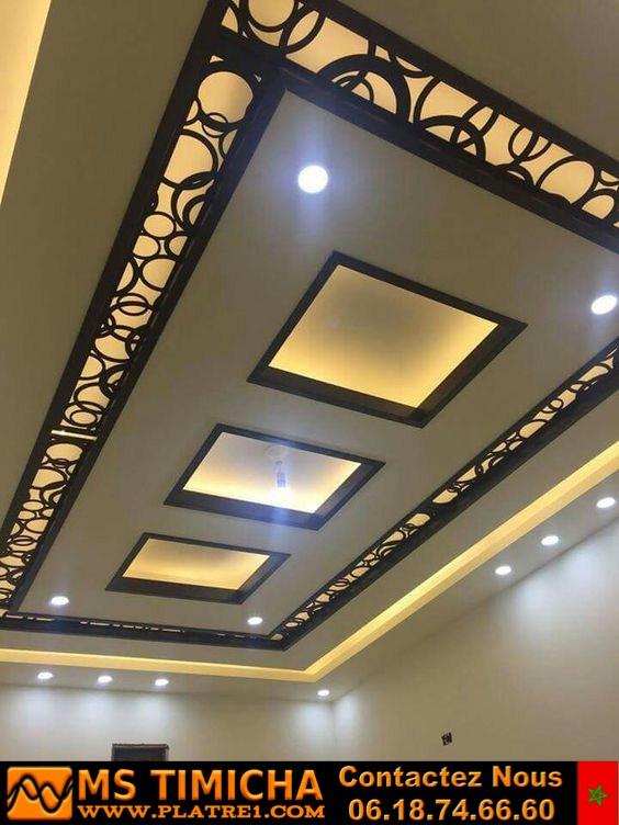 Fausses conceptions pop de plafond avec des idées d'éclairage au plafond LED