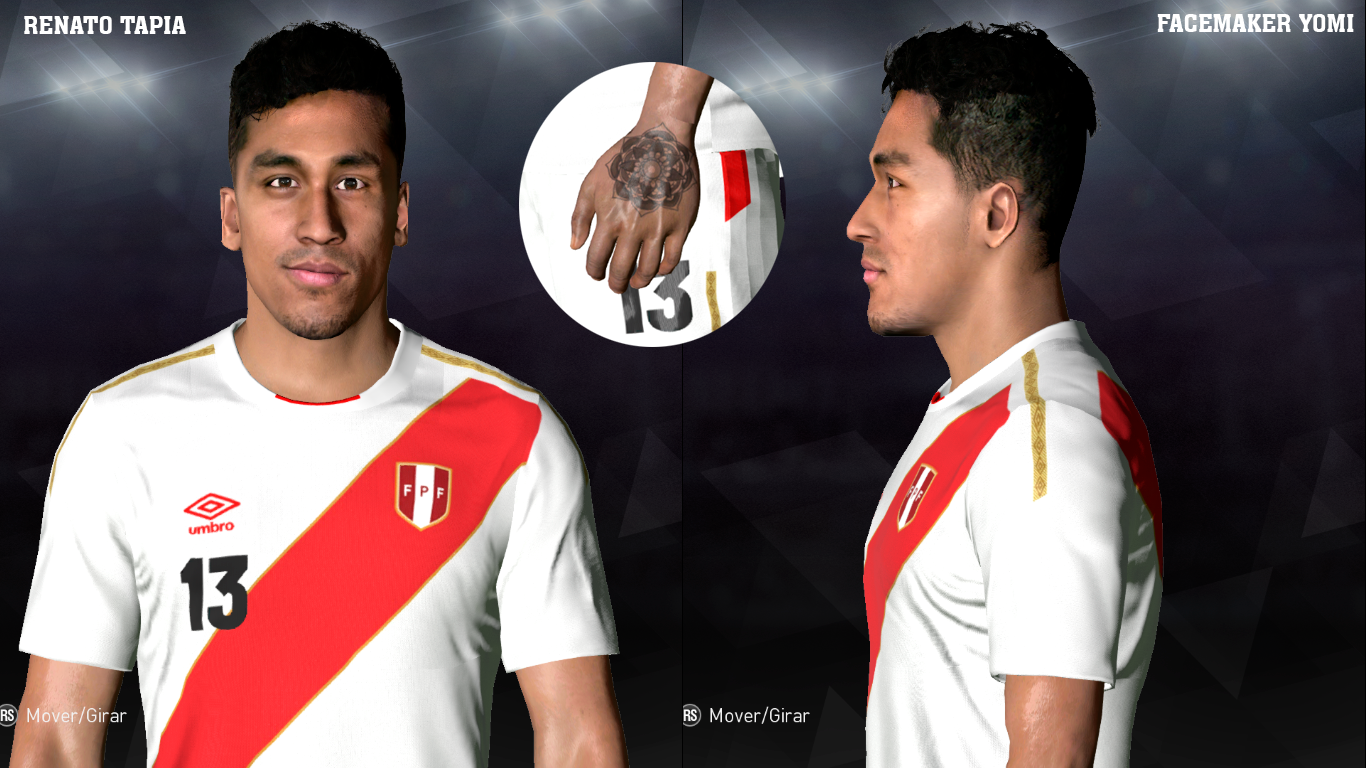 PES 2017 Renato Tapia with Tattoo on his hand by Facemaker Yomi