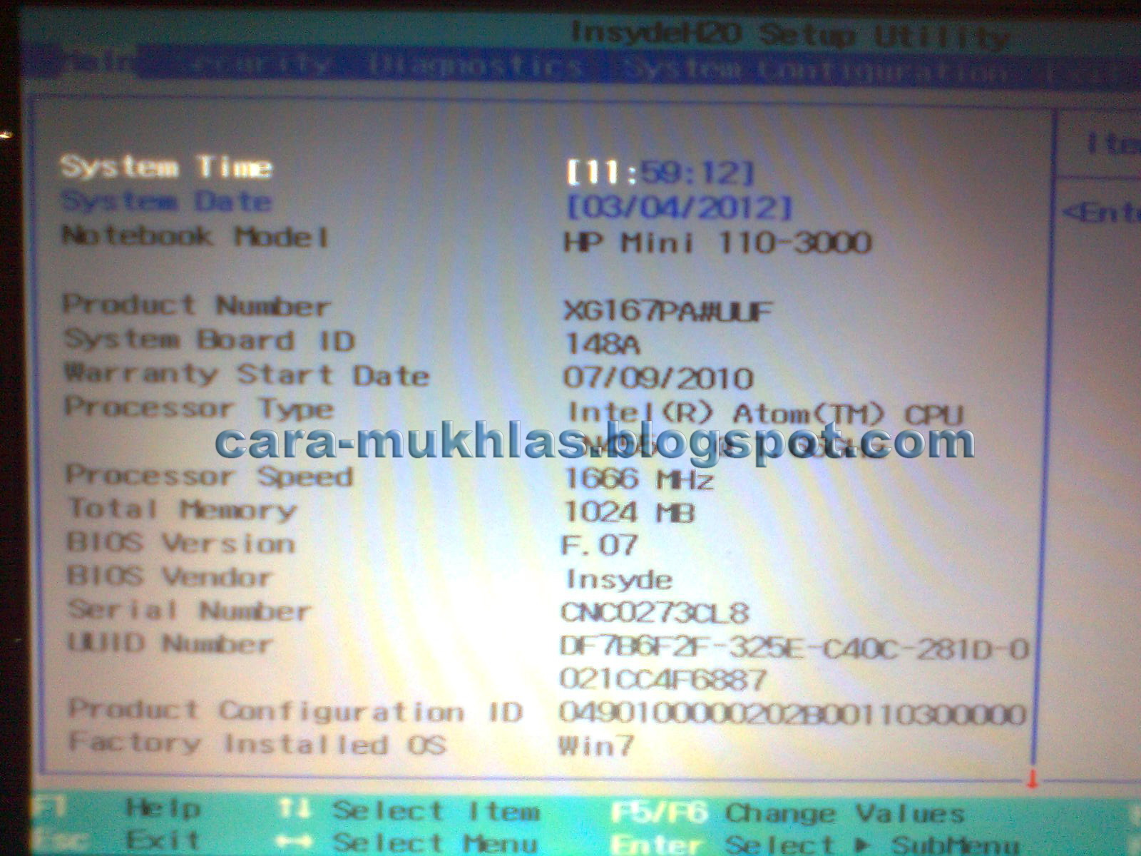 Cara Masuk BIOS HP Mini 110-3000 | CARA MUKHLAS PERBAIKI PRINTER CPU