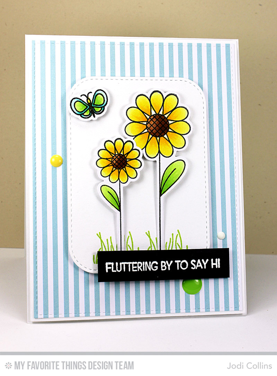 Fluttering By Card by Jodi Collins featuring the Lisa Johnson Designs Fly-By Friends stamp set and Die-namics, and the Inside & Out Stitched Rounded Rectangle STAX, Blueprints 2, and Blueprints 12 Die-namicsl #mftstamps