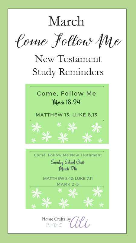 March Come, Follow Me New Testament Study Reminders