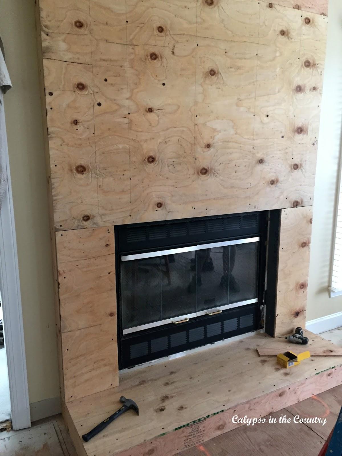 New stone fireplace - in progress