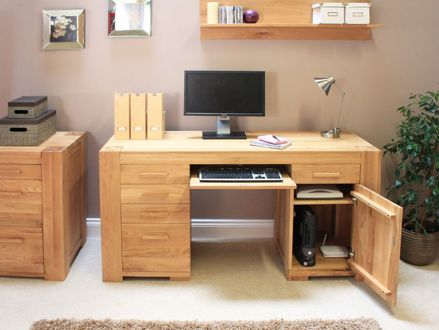 desks for home in small oak desk with drawers image source www