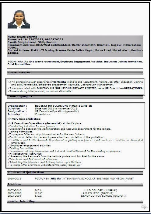 Fresher Teacher Resume Format India Facebookthesis Web Fc2 Com