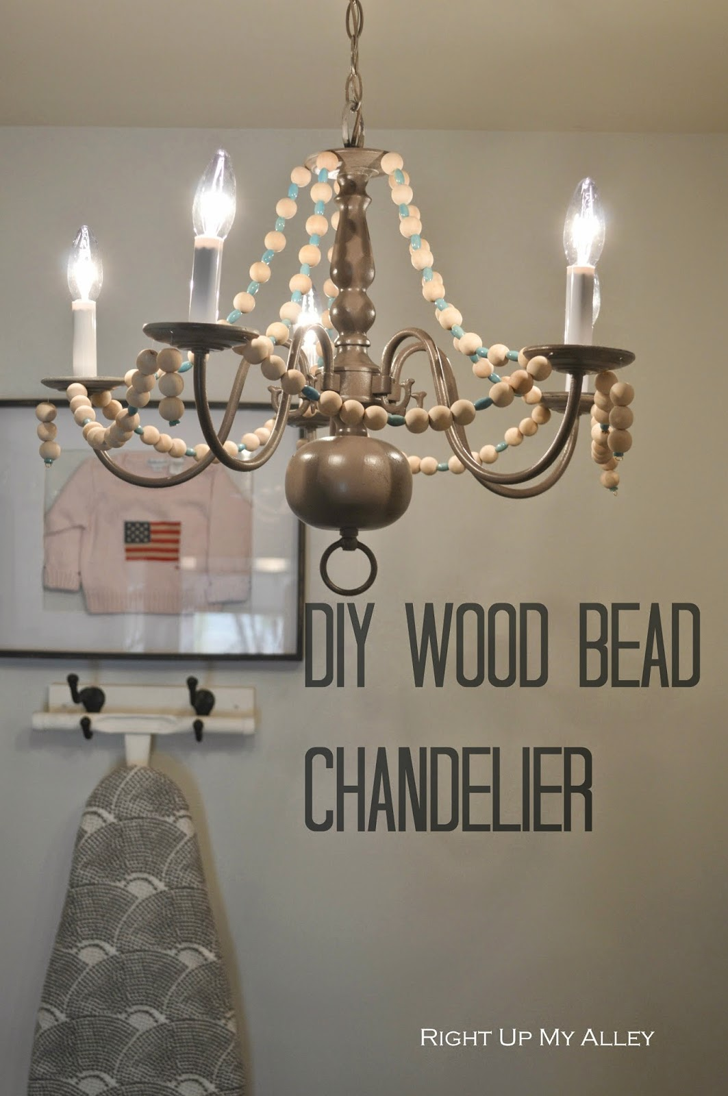 Right up my alley diy wood bead chandelier aloadofball Image collections
