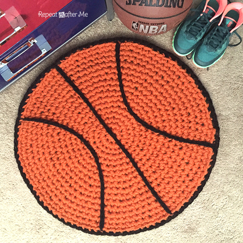 Crochet Basketball Rug - Free Pattern