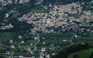 The village of Alano di Piave in Veneto, viewed from the foothills of Monte Grappa