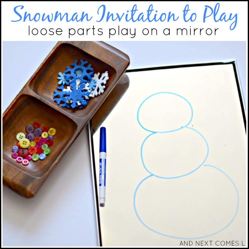 Snowman themed invitation to play for kids using loose parts and a mirror from And Next Comes L