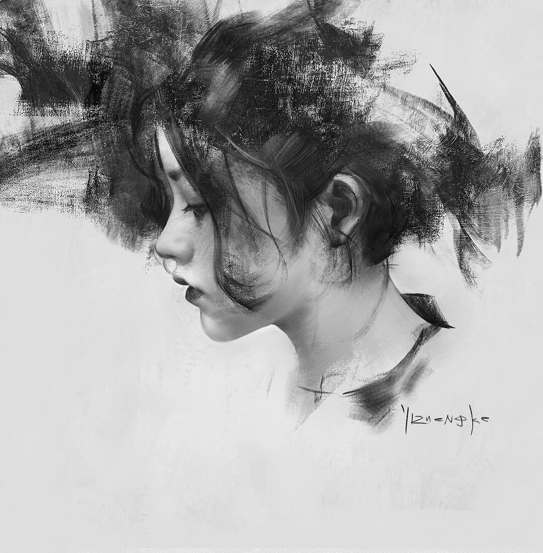 05-Yizheng-Ke-Charcoal-Portrait-Drawing-in-Different-Poses-www-designstack-co