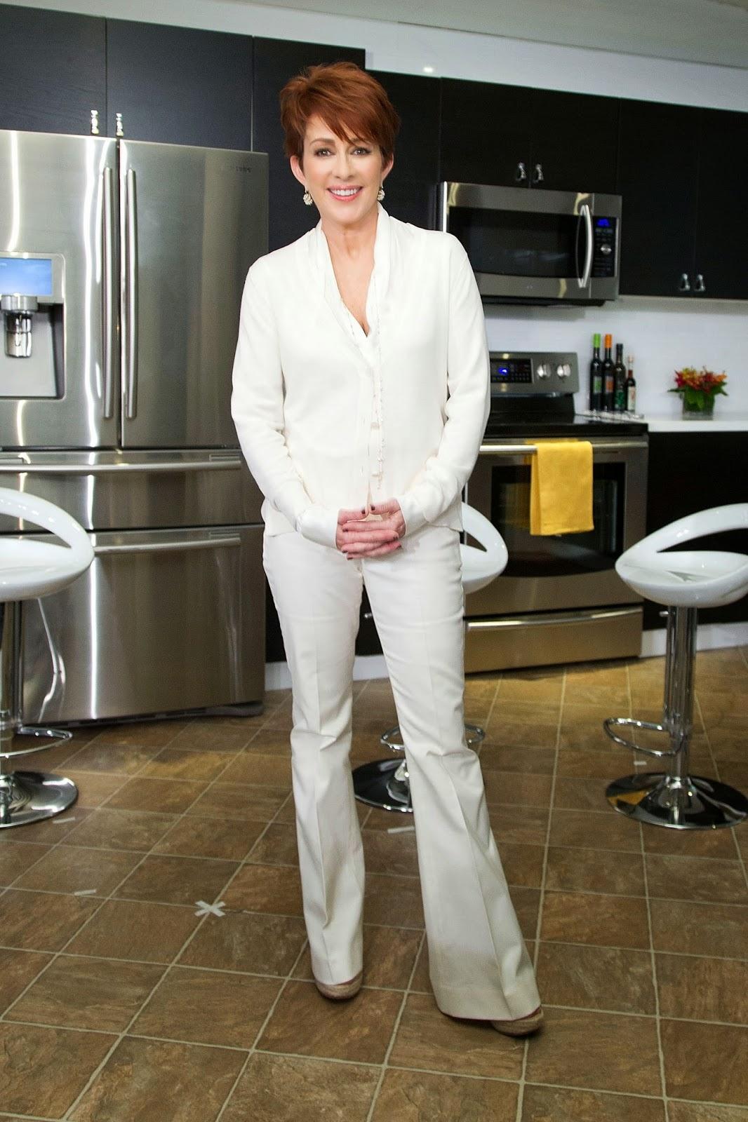 Patricia Heaton - white silk blouse under cardigan - Satin ...