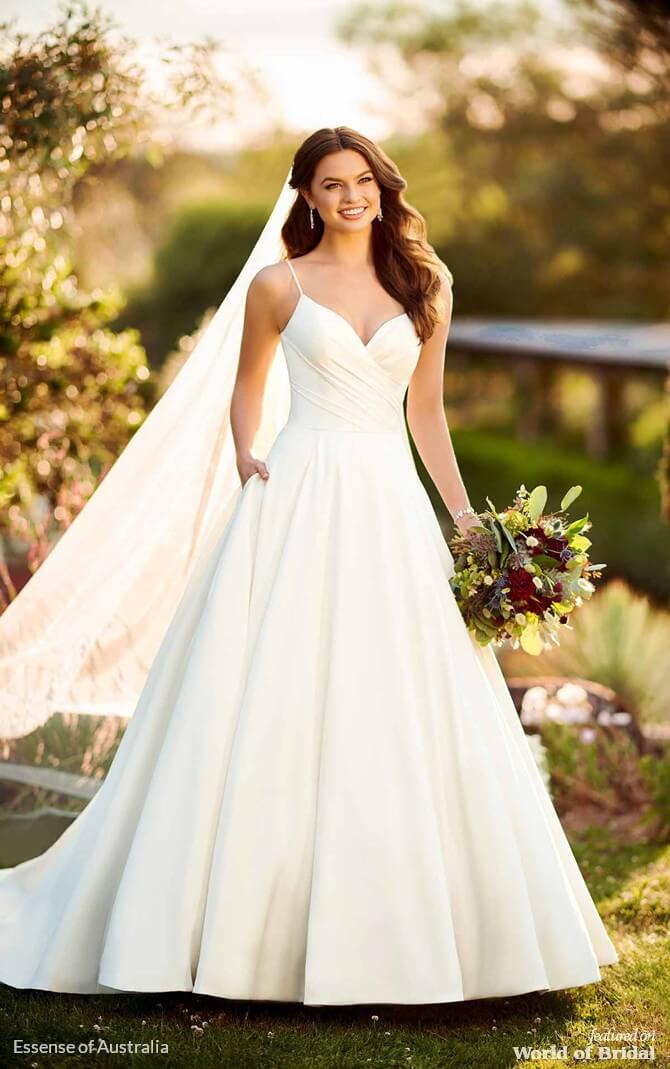 257dbf1105199 ... romantic ballgown with off-the-shoulder cap sleeves zips up beneath  crystal buttons. Essense of Australia Spring 2019 Relaxed Ballgown with  Scoop Back