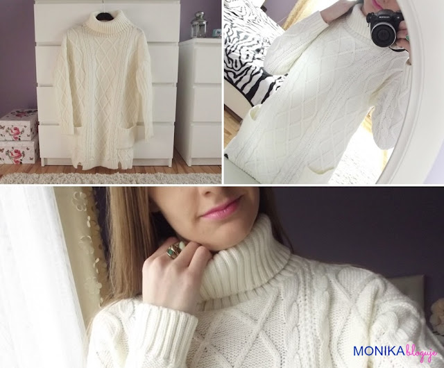 Turtleneck Cable Knit Pockets White Sweater