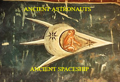 An ancient piece of artwork with an obvious spaceship inside of it.