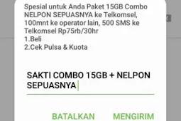 Jual Kartu Sakti Combo 15GB FULL FLASH + NELPON TANPA BATAS CUMA 75.000 dari pada susah cari cara dapatkan kuota sakti combo?