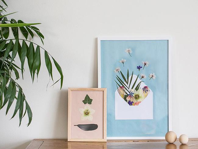 DIY flores prensadas en un cuadro